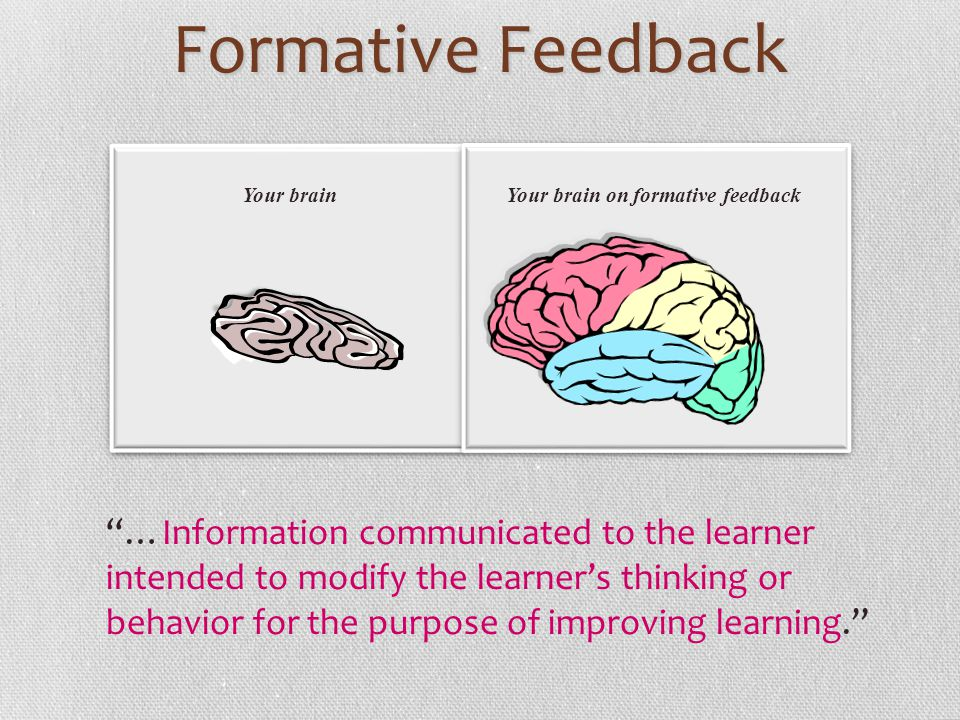 Formative Feedback Your brain. Your brain on formative feedback.