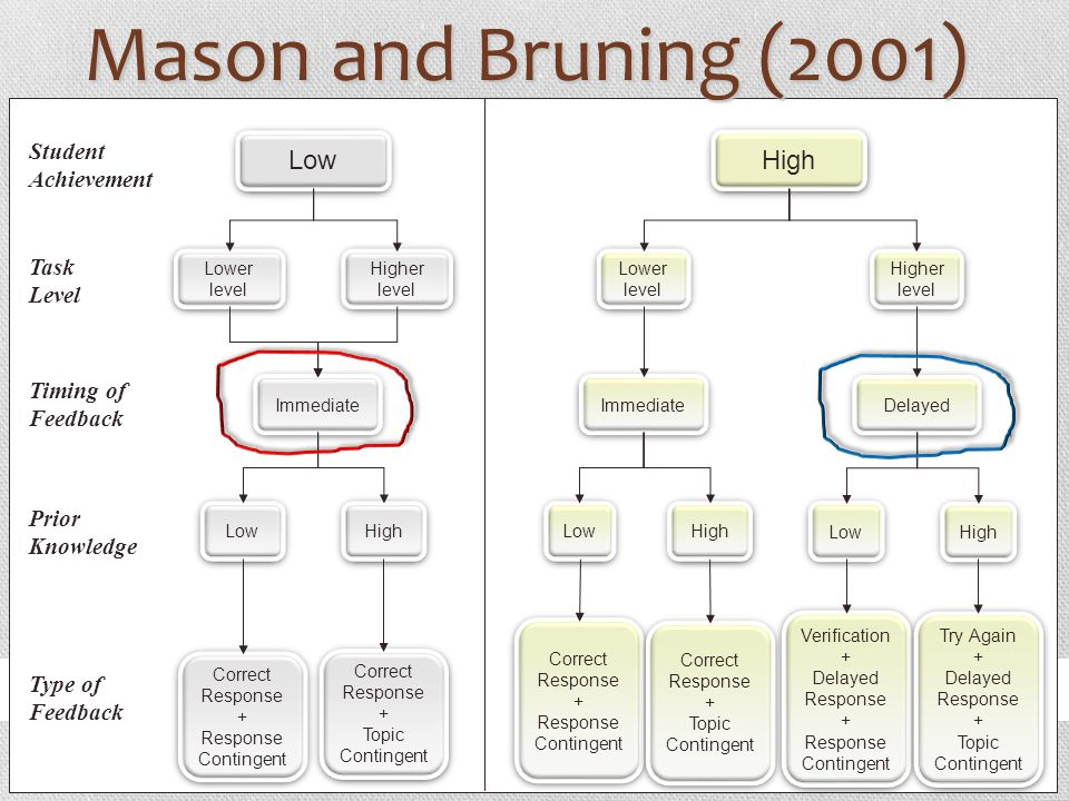 Mason and Bruning (2001) Low High Student Achievement Task Level