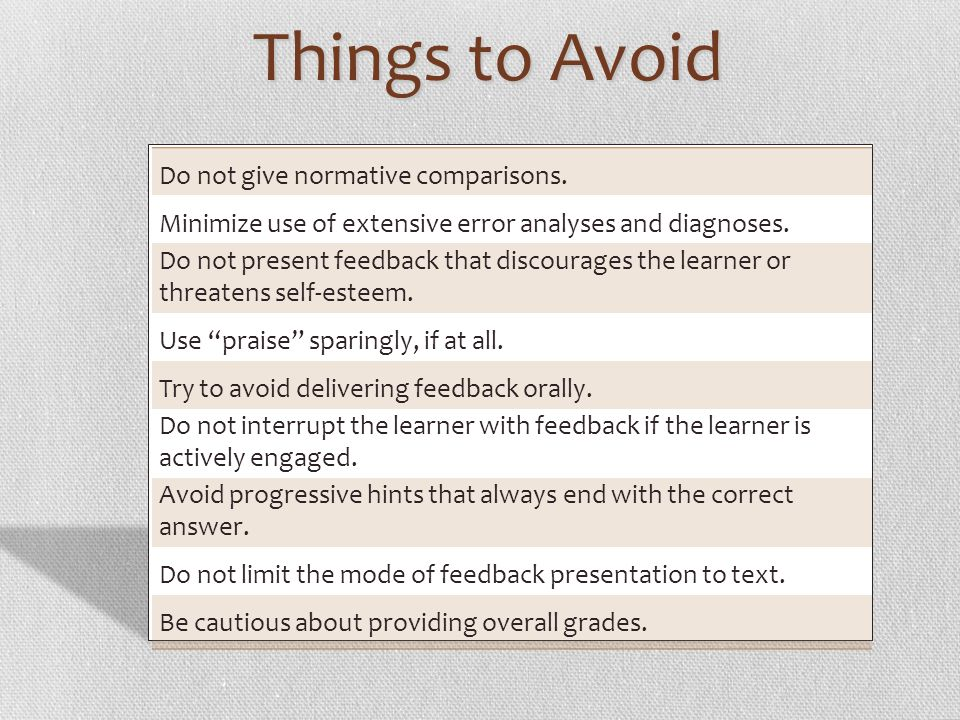 Things to Avoid Do not give normative comparisons.