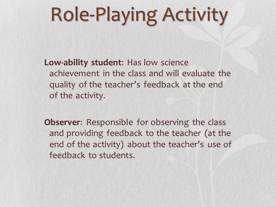 Role-Playing Activity