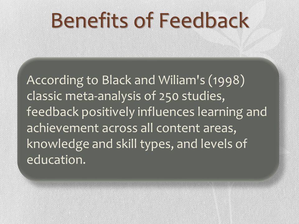 Benefits of Feedback