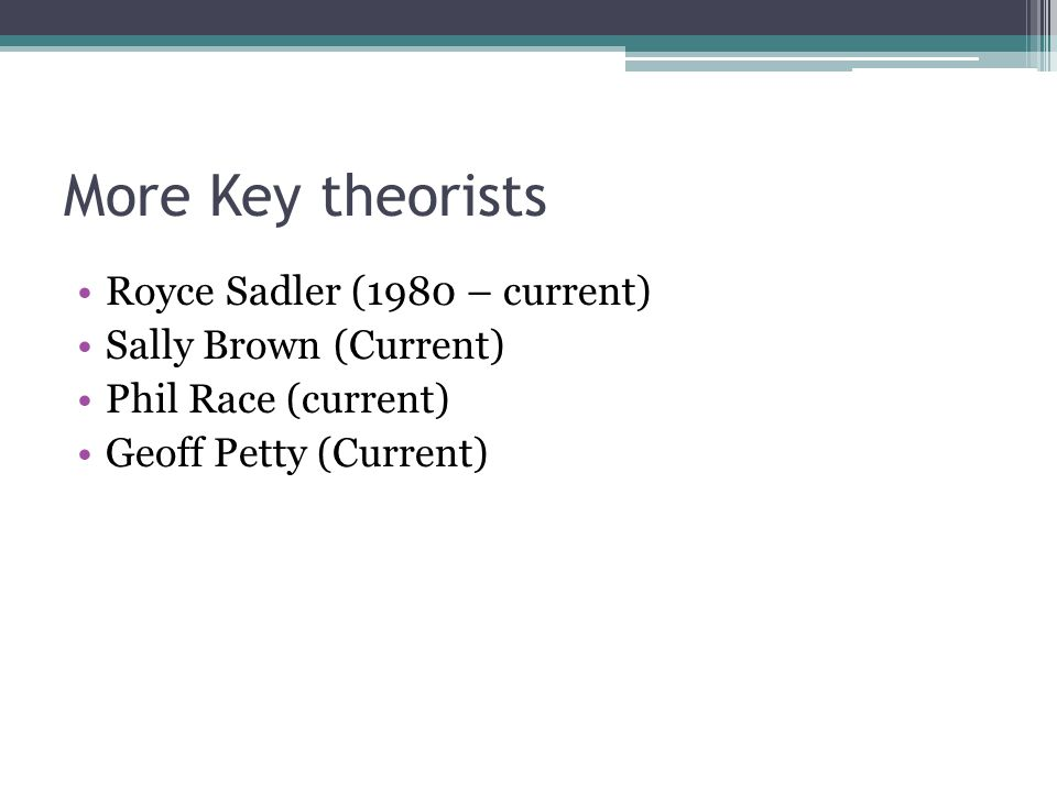 More Key theorists Royce Sadler (1980 – current) Sally Brown (Current)