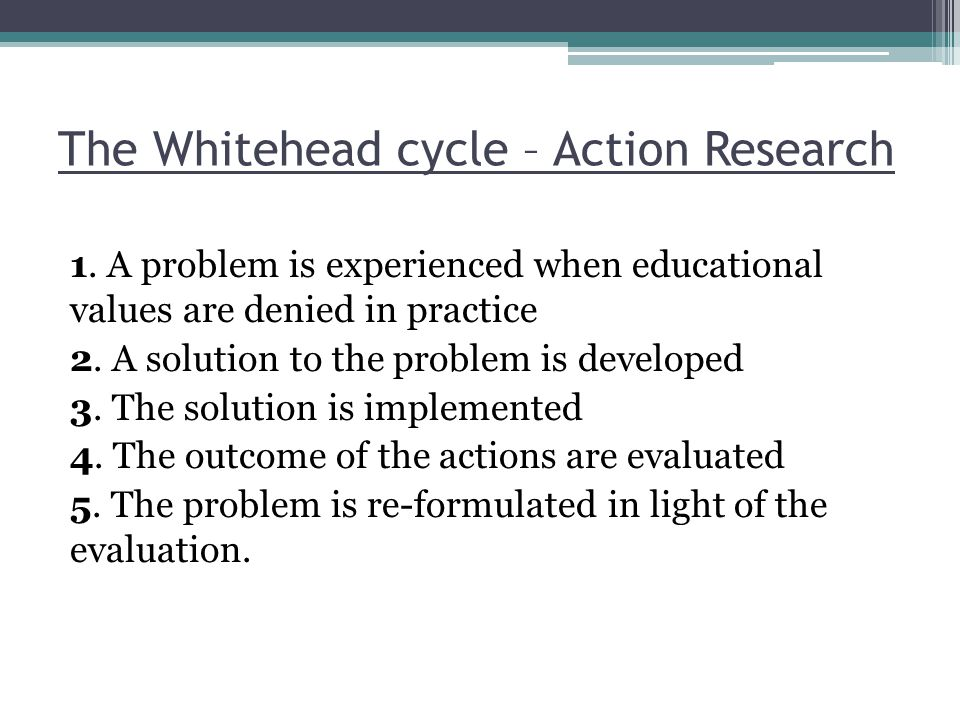 The Whitehead cycle – Action Research