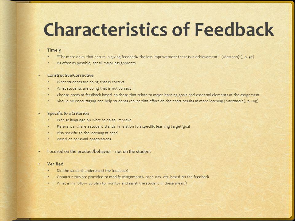 Characteristics of Feedback