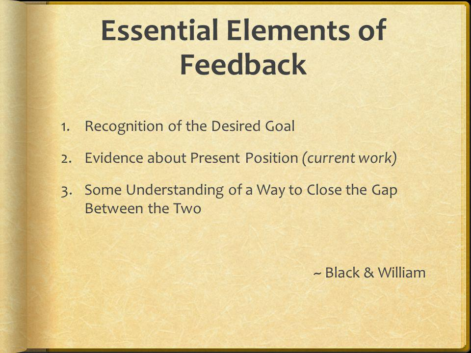 Essential Elements of Feedback