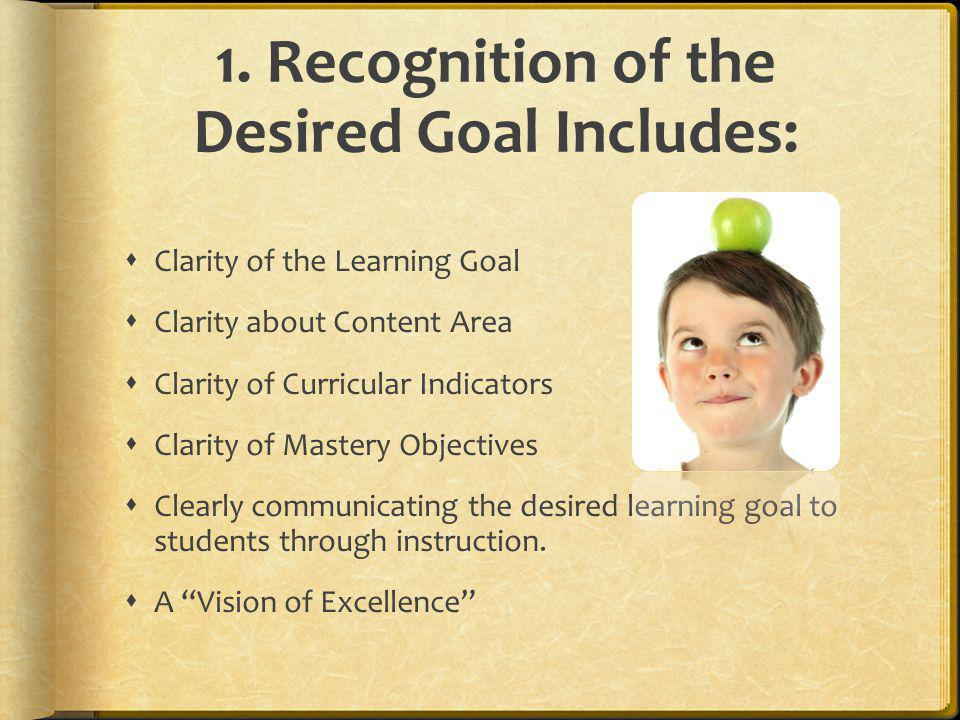 1. Recognition of the Desired Goal Includes: