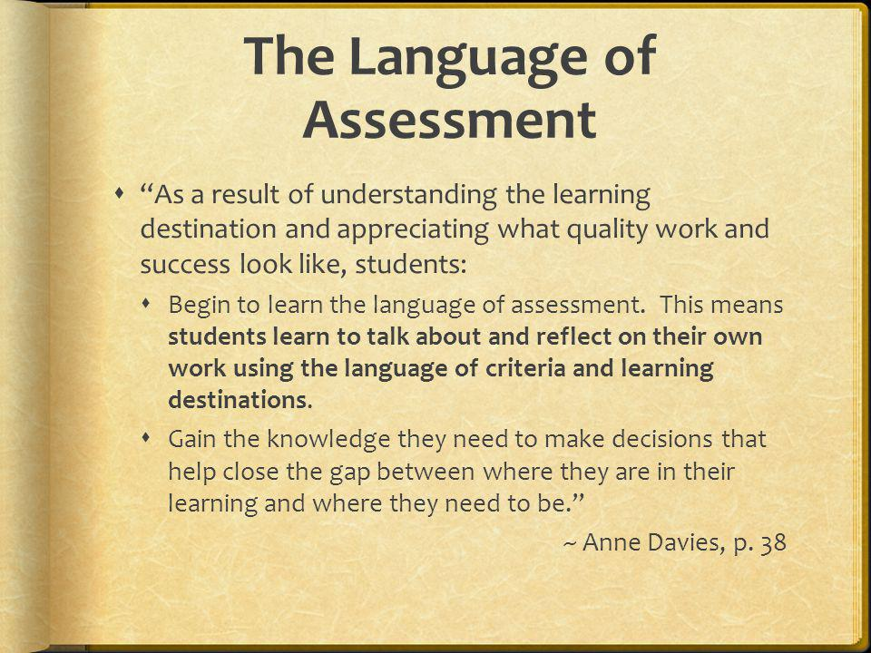 The Language of Assessment