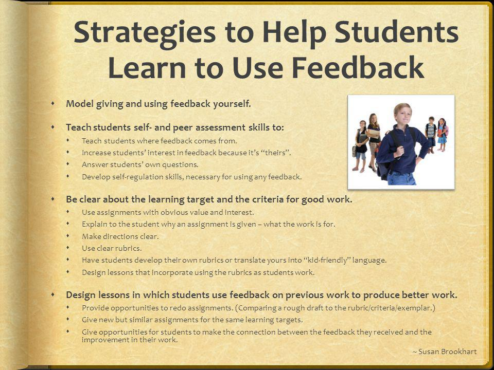 Strategies to Help Students Learn to Use Feedback