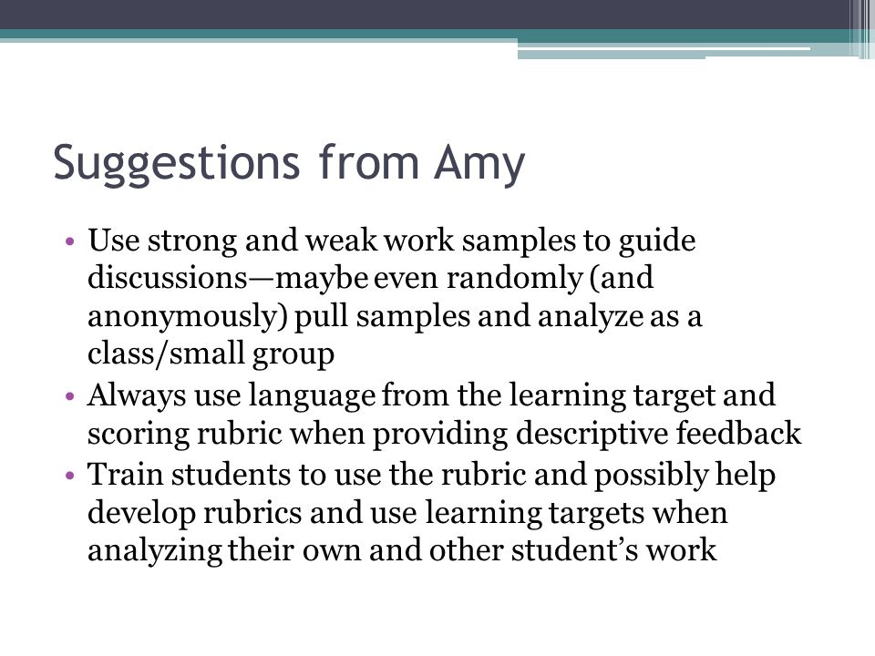 Suggestions from Amy