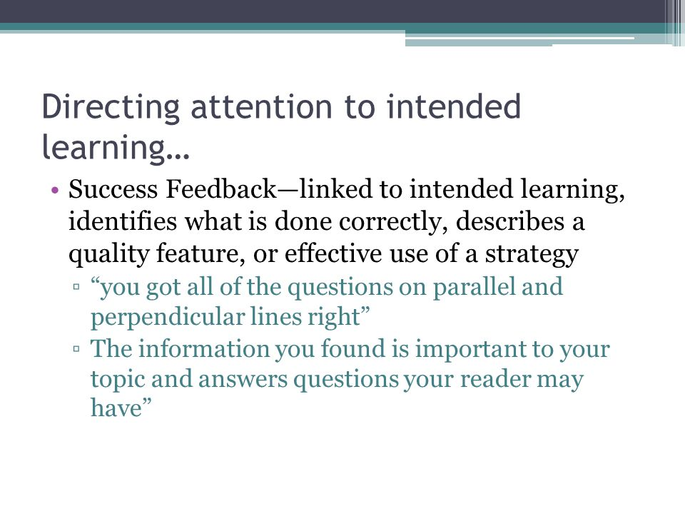 Directing attention to intended learning…