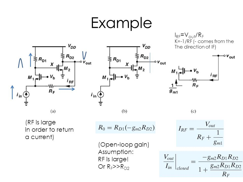 Example IRF=Vout/RF (RF is large in order to return a current)