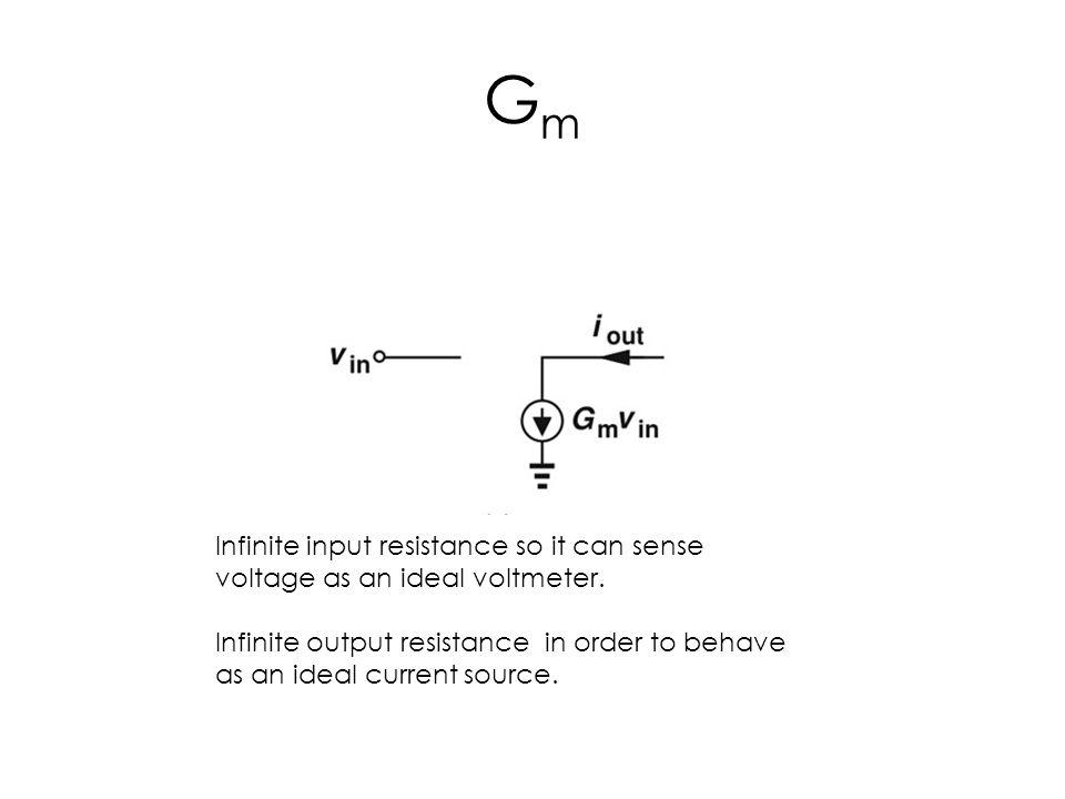 Gm Infinite input resistance so it can sense