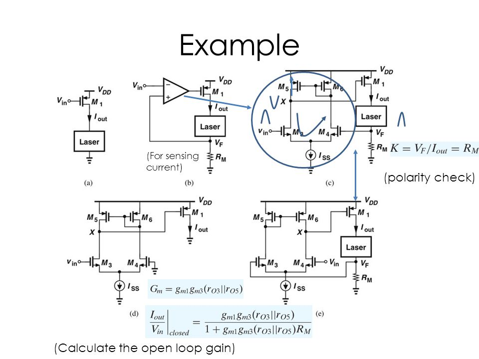 Example (polarity check) (Calculate the open loop gain) (For sensing