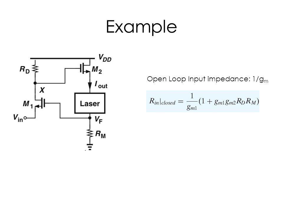 Example Open Loop Input impedance: 1/gm