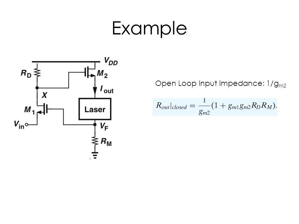 Example Open Loop Input impedance: 1/gm2