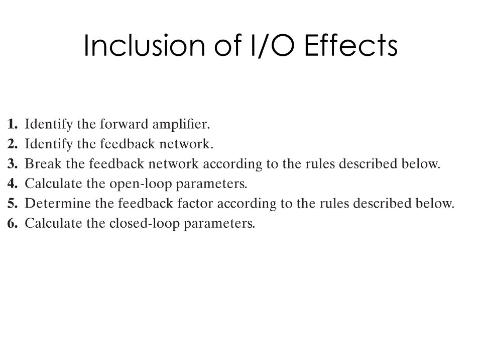 Inclusion of I/O Effects