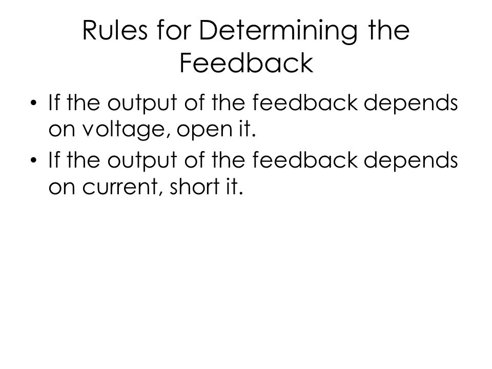 Rules for Determining the Feedback