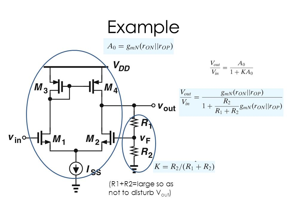 Example (R1+R2=large so as not to disturb Vout)