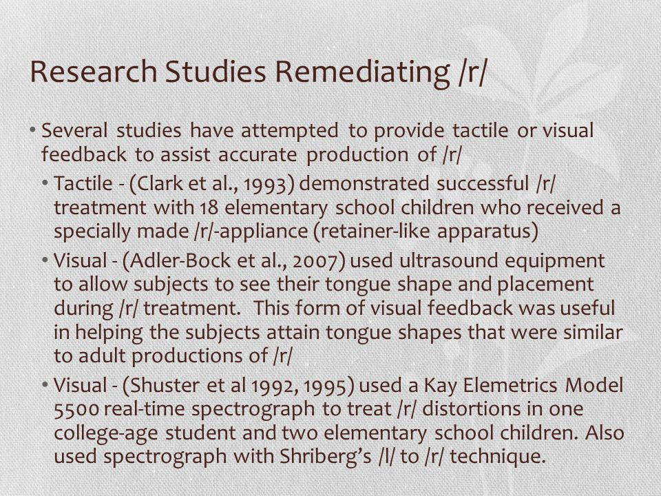 Research Studies Remediating /r/