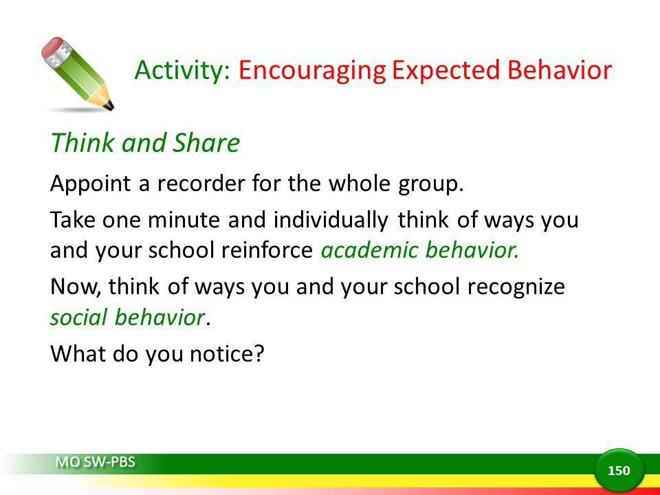 Activity: Encouraging Expected Behavior