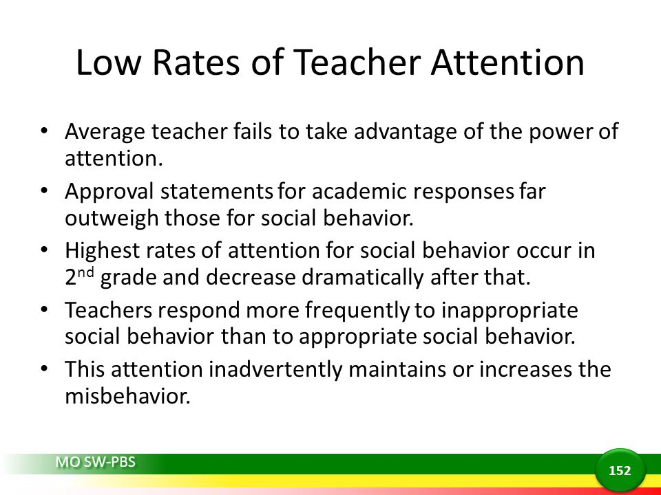 Low Rates of Teacher Attention