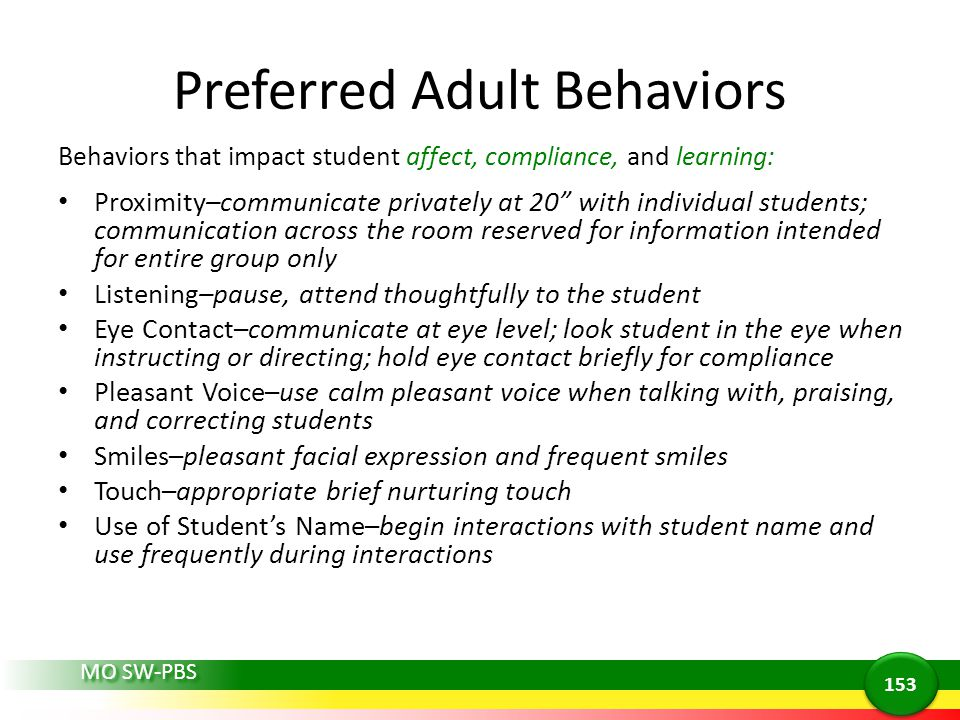Preferred Adult Behaviors