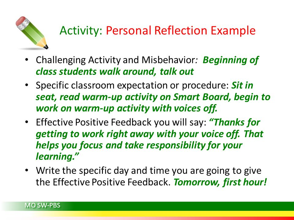 Activity: Personal Reflection Example