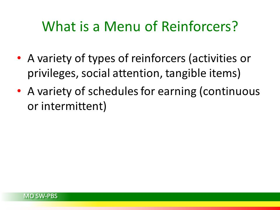 What is a Menu of Reinforcers
