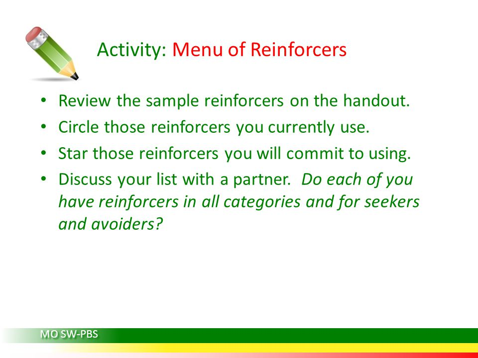 Activity: Menu of Reinforcers