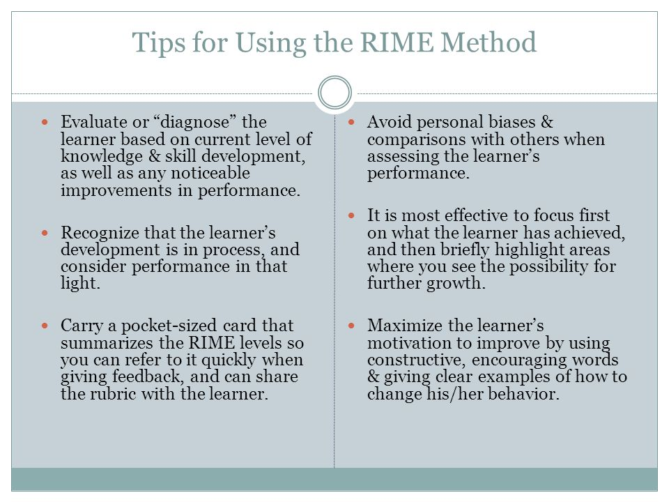 Tips for Using the RIME Method