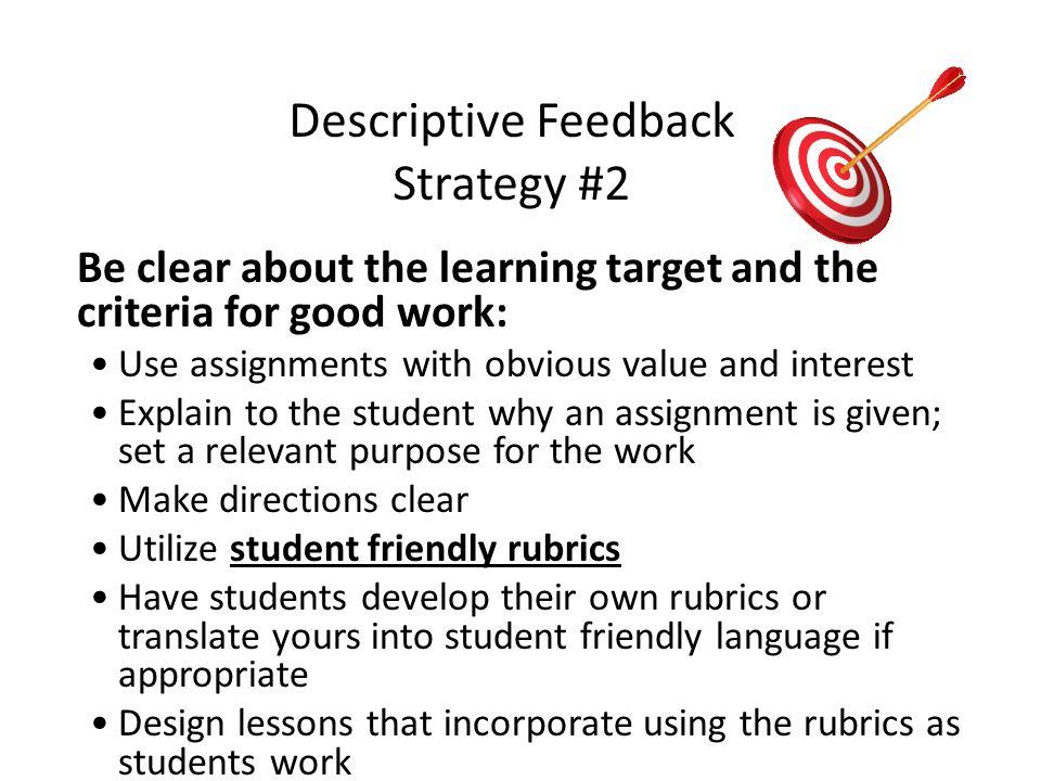 Descriptive Feedback Strategy #2