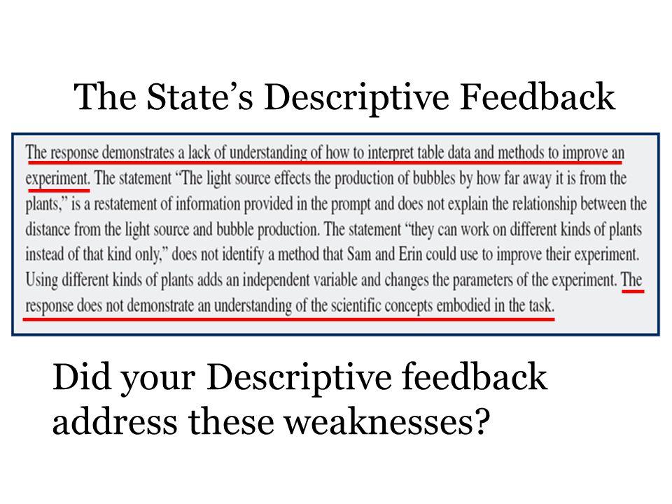The State's Descriptive Feedback