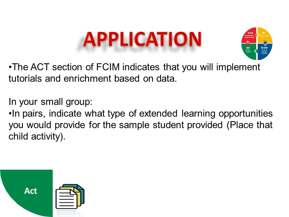 APPLICATION The ACT section of FCIM indicates that you will implement tutorials and enrichment based on data.