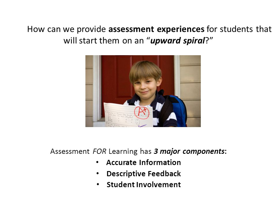 Assessment FOR Learning has 3 major components: