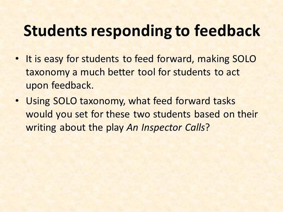 Students responding to feedback