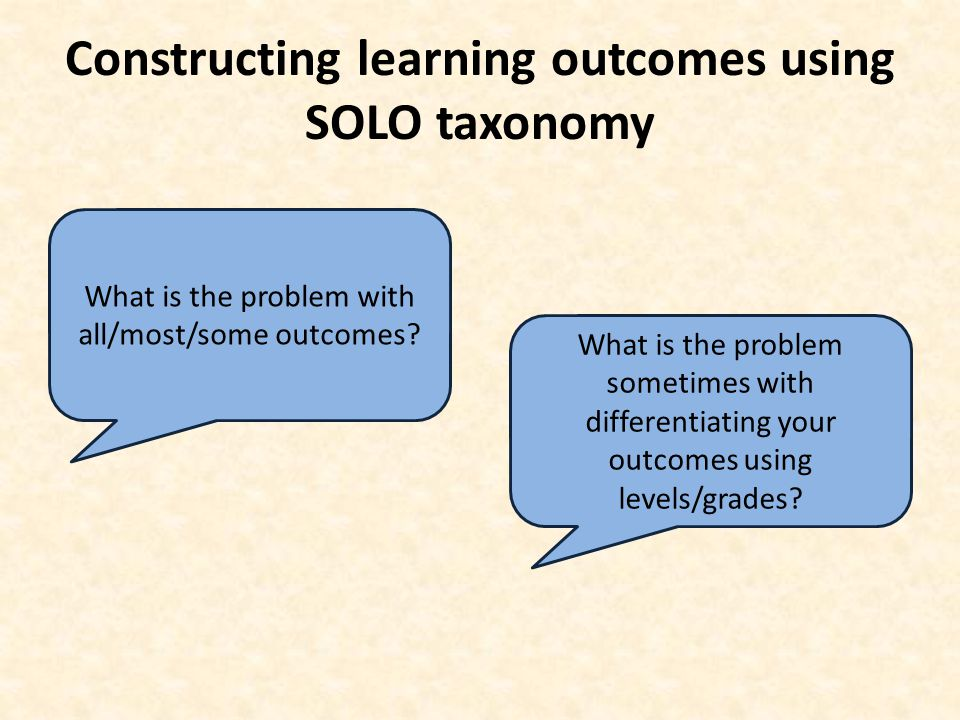 Constructing learning outcomes using SOLO taxonomy