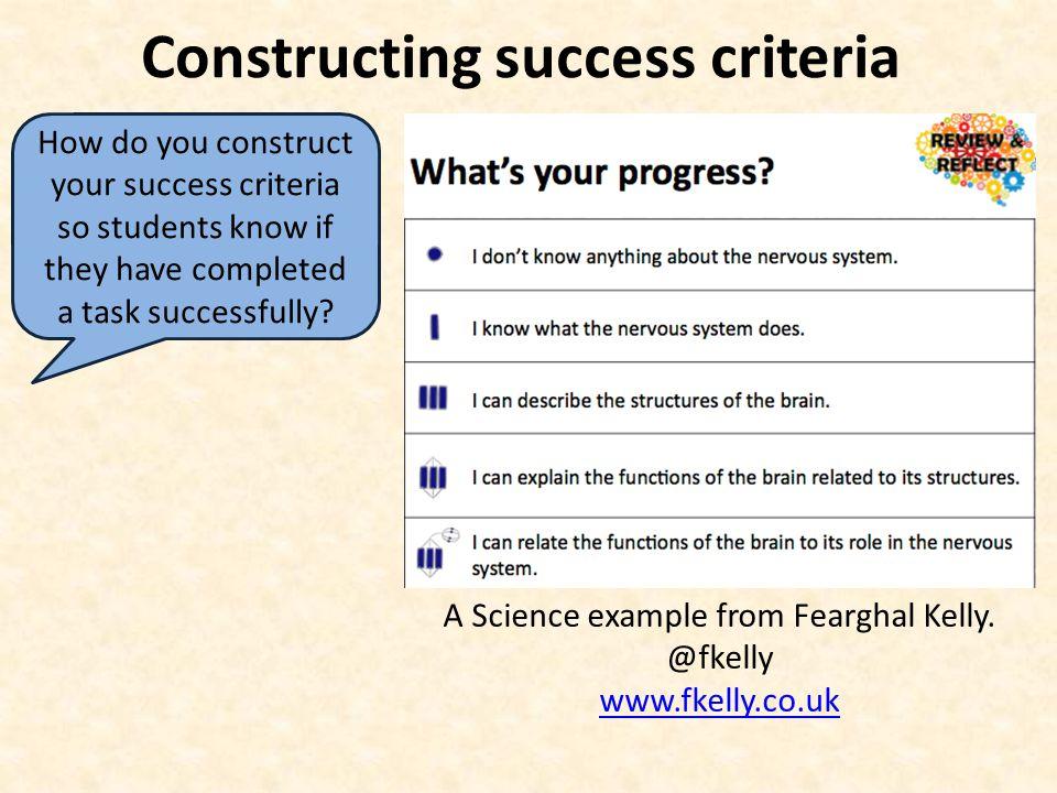 Constructing success criteria