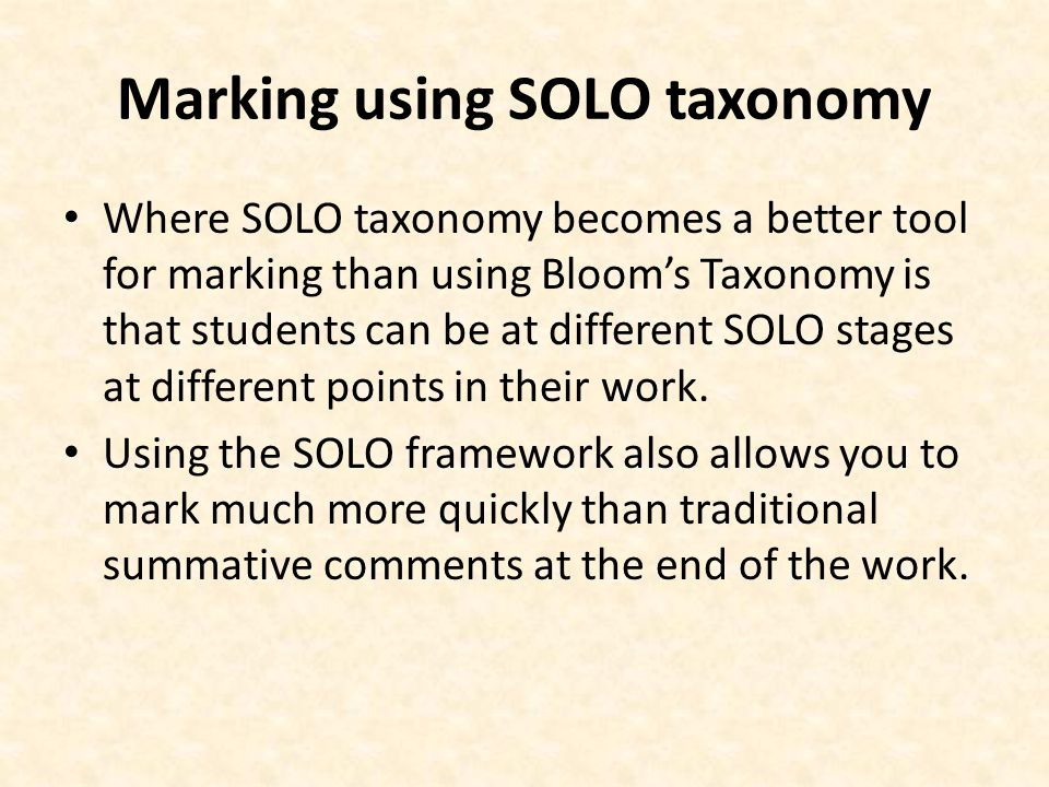 Marking using SOLO taxonomy