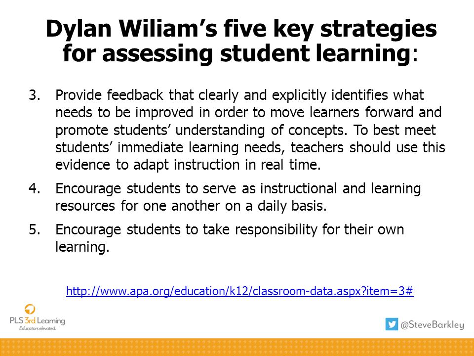 Dylan Wiliam's five key strategies for assessing student learning: