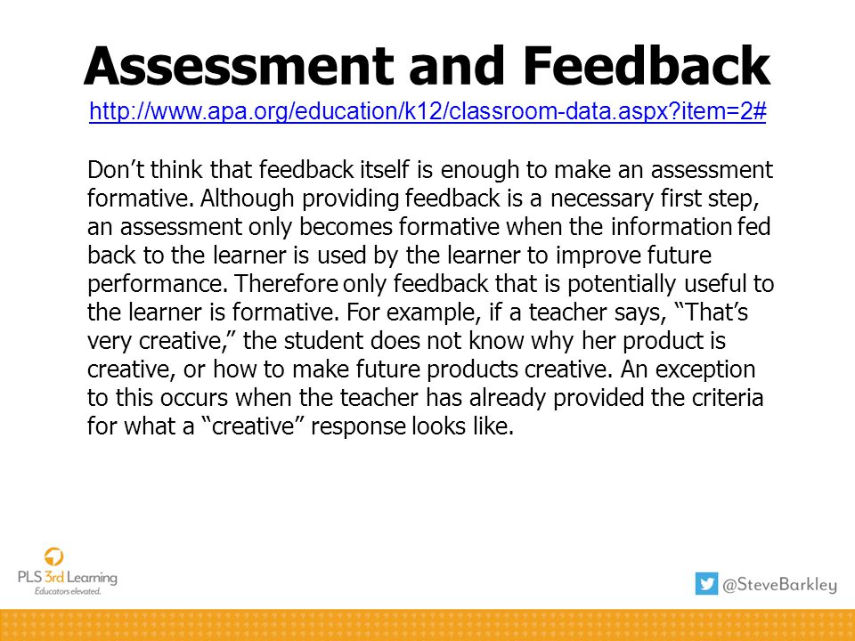 Assessment and Feedback http://www. apa