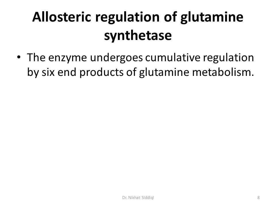 Allosteric regulation of glutamine synthetase