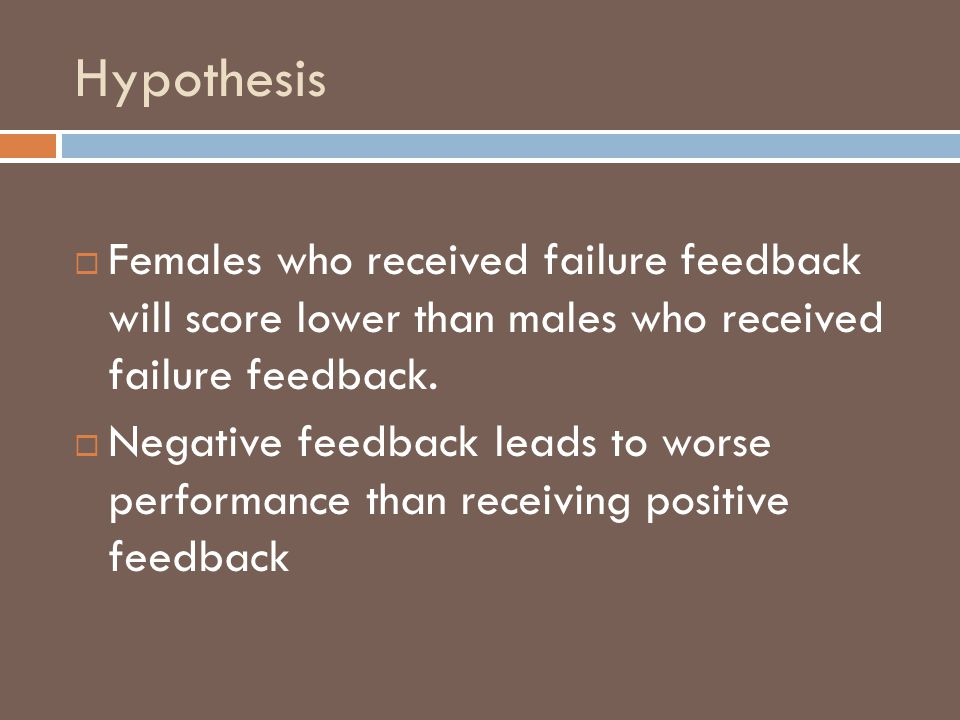 Hypothesis Females who received failure feedback will score lower than males who received failure feedback.