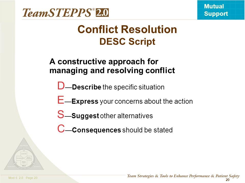 Conflict Resolution DESC Script
