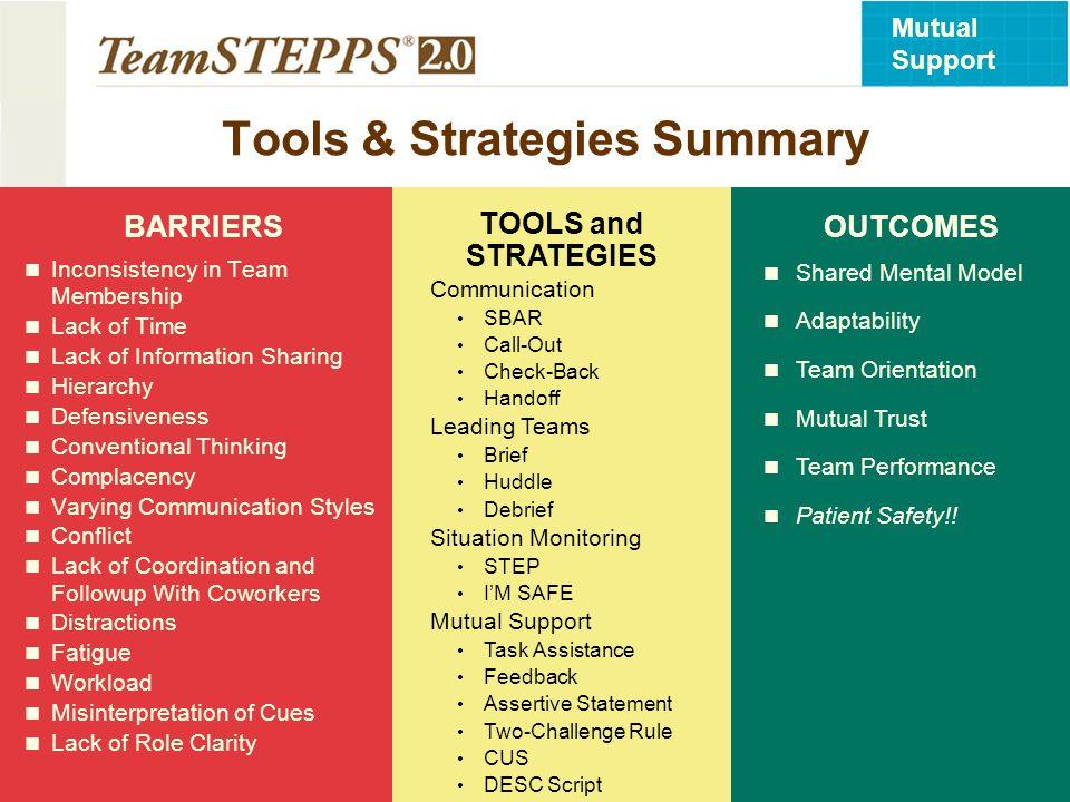 Tools & Strategies Summary