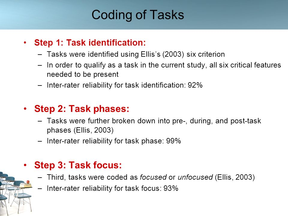 Coding of Tasks Step 2: Task phases: Step 3: Task focus: