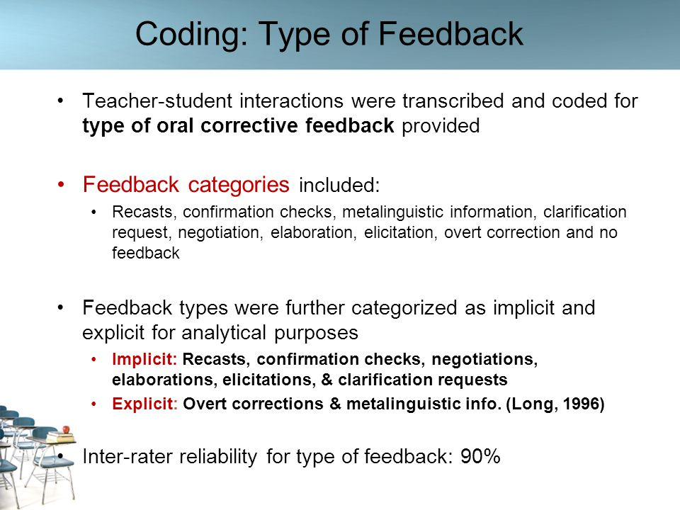Coding: Type of Feedback