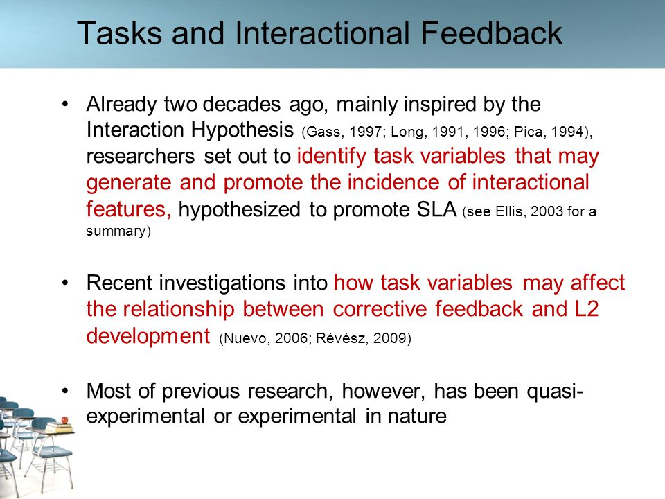 Tasks and Interactional Feedback