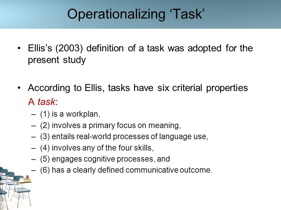 Operationalizing 'Task'