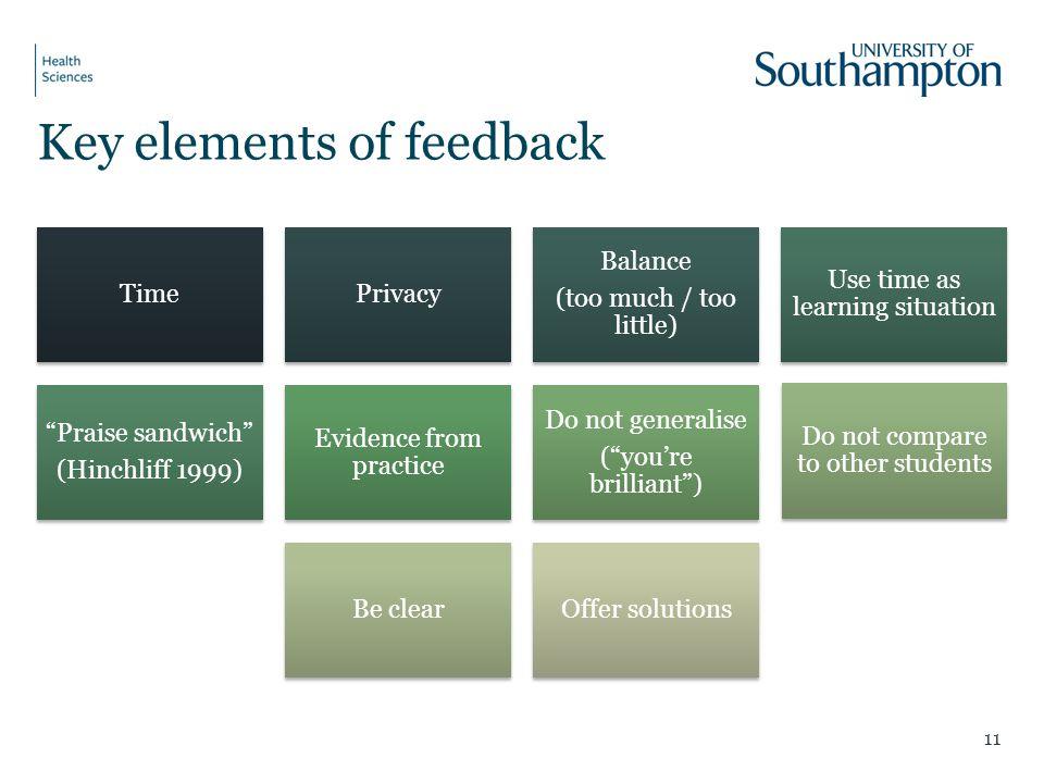 Key elements of feedback