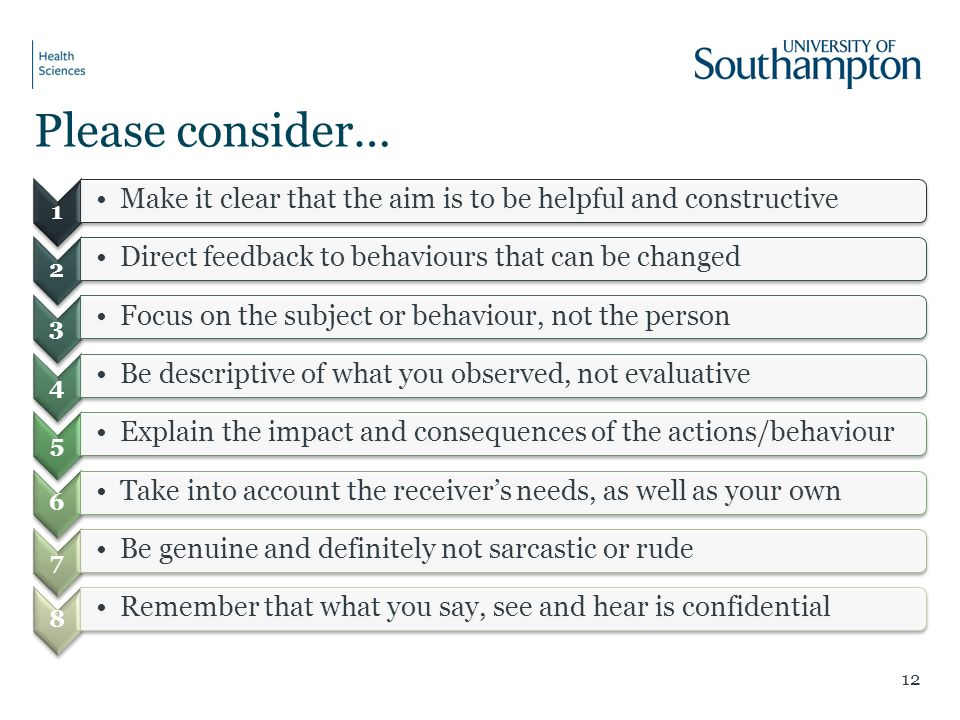 Please consider… 1. Make it clear that the aim is to be helpful and constructive. 2. Direct feedback to behaviours that can be changed.